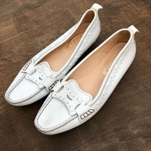 TOD'S driving loafers slides white leather 9.5